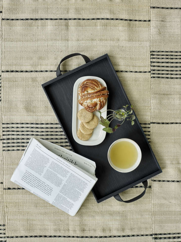 The Norr Tray, in black, serves breakfast in bed.