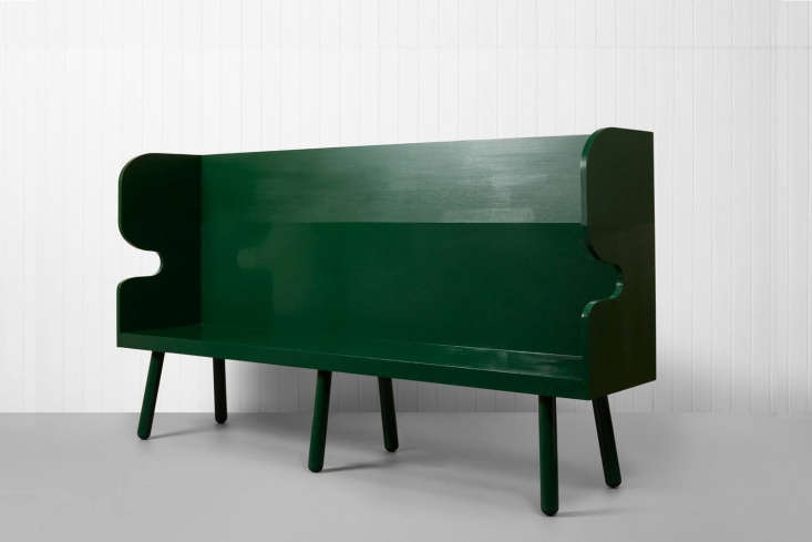 the \2.4 meter (just under eight feet) bench in a green oil based gloss paint. 13