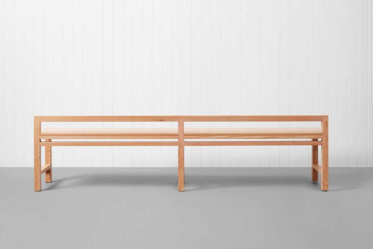 thestumpy bench is a low backed bench with square legs and is also made by in 14