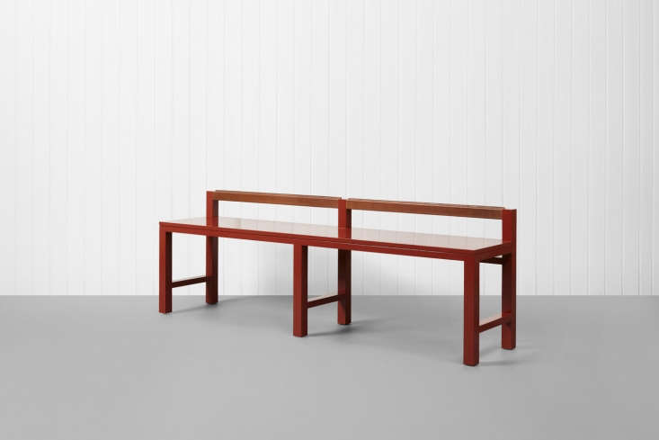 the stumpy bench in red oil based gloss paint with bespoke detailing. 15