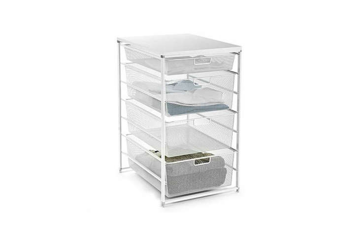 the white elfa mesh closet drawers store socks and sleepwear nicely and made of 17