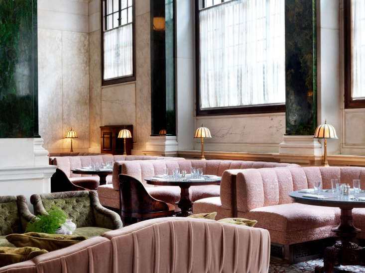 the more traditional millie&#8\2\17;s lounge, with low slung pink banquette 23
