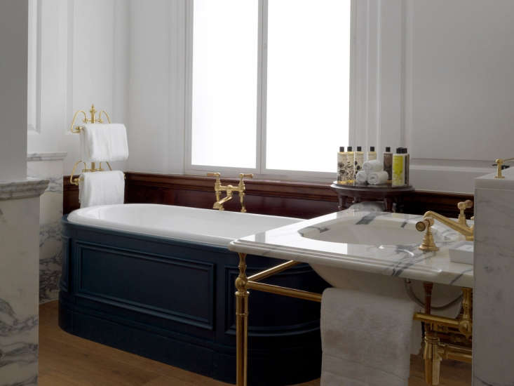 the terrace suite bathroom features a roll top bath. (for a similar option, see 20