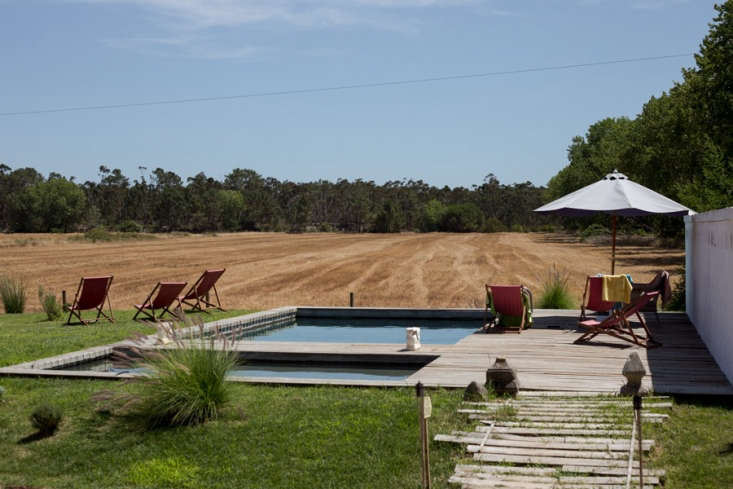 The pool area. Fruit and vegetables still grow at the converted blueberry farm; the strawberries are free for the picking.