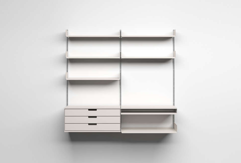 The iconicVitsoe 606 Universal Shelving System, designed by Dieter Rams in 60, is a favorite of design aficionados. The system offers infinite configurations: various shelf widths and lengths, drawers, and desks available to suit any storage needs. An aluminum E-track and pin enables the shelves and cabinets to be easily hung and configured as needed. The Vitsoe is an investment, but it&#8