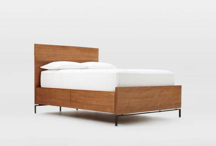 10 Easy Pieces Storage Beds The Nash Storage Bed in Teak is elevated off the floor with metal hardware but still has four drawers for extra storage; \$\1,999 for the queen.