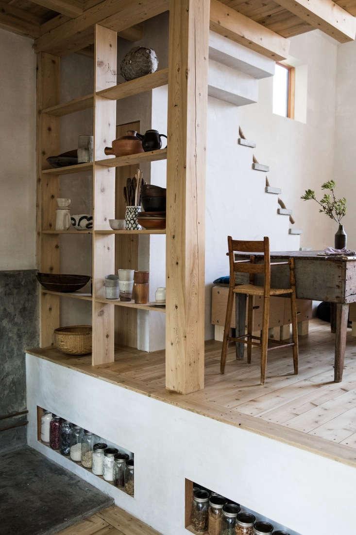 esteves&#8\2\17;s hand built cedar shelves serve as both storage and room d 16