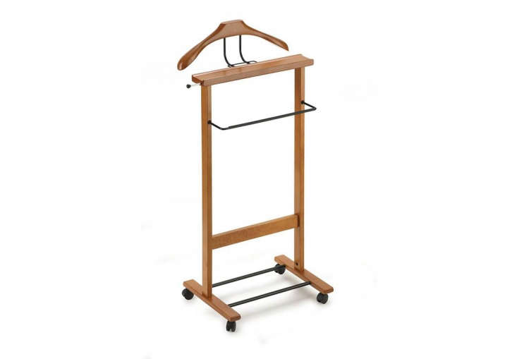 The Ego Valet Stand has a tray for coins, a tie and belt rack, and a bar for hanging pants; $6 via Amazon.