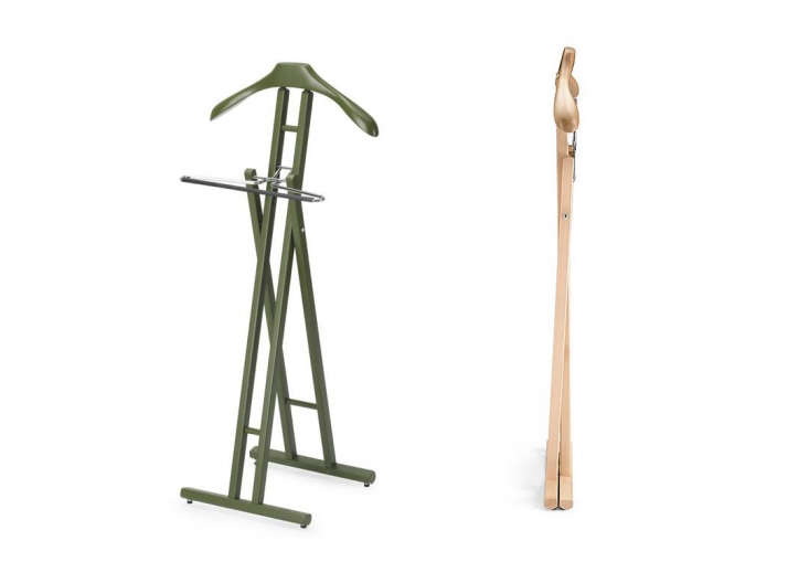 We like the Klapp Folding Valet stand in the painted camouflage green finish (shown at left), available for $9 via Amazon. It folds neatly when not in use.