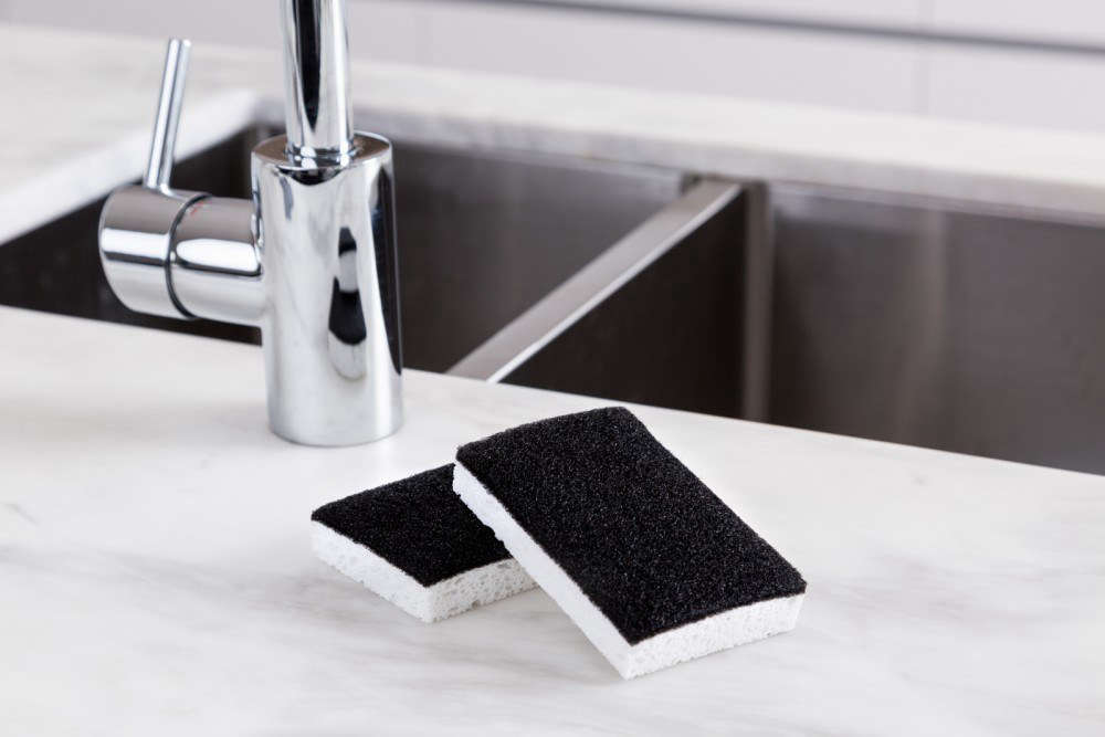The Black and White Scourer Sponge is AUD $5.80 ($4.46 USD) for a pack of two.