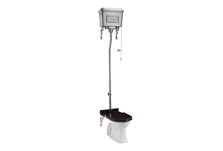 The Burlington High Level Toilet with a Polished Aluminum Cistern is £698.30 ($9.) at Victorian Plumbing, which offers many other styles of Burlington high level toilets.