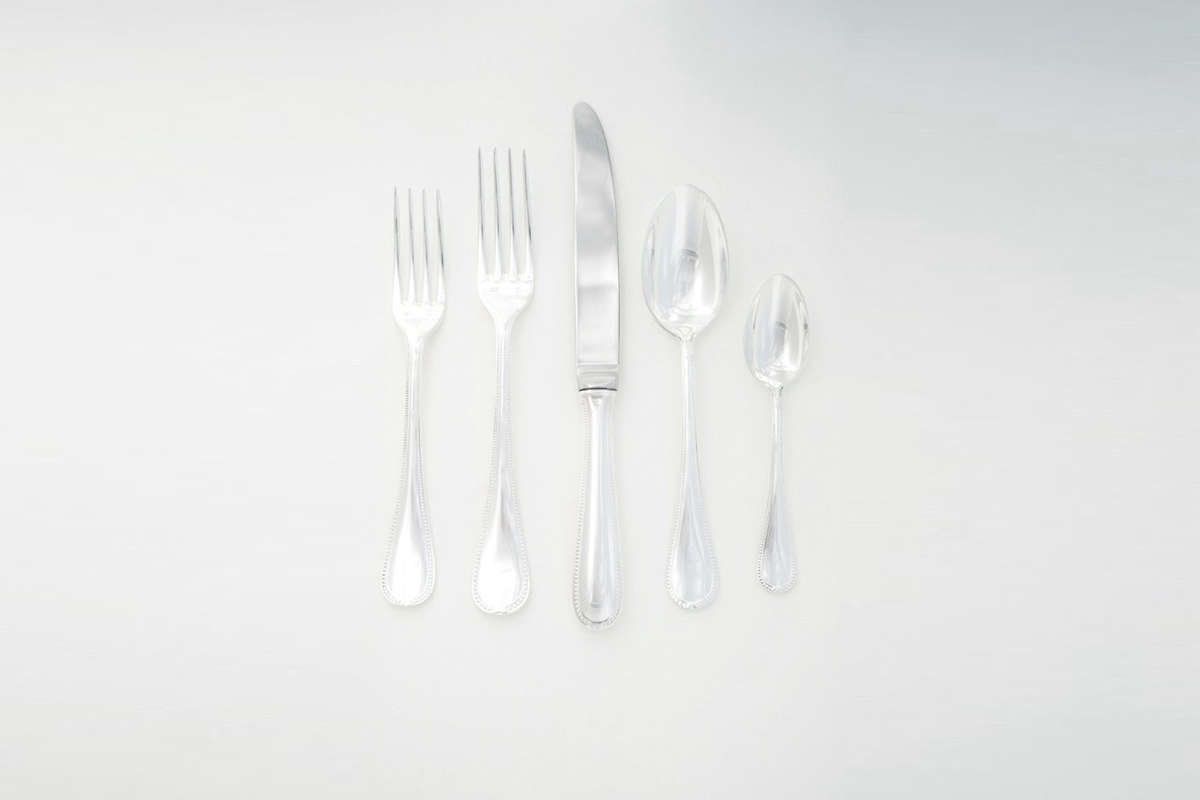 The Chambly Perles Silver Flatware is made in France with a beaded design; $357 at Quitokeeto.