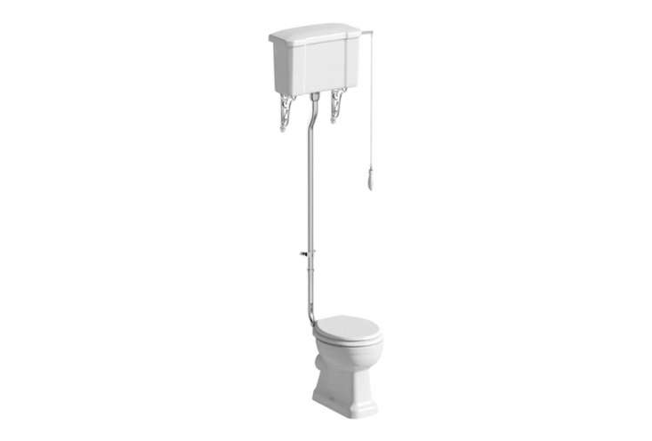 The Chatsworth High Level Traditional Toilet has decorative brackets and a hand flush; £397 ($5.) at Victorian Plumbing.