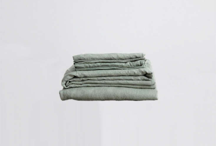 The Cultiver Linen Sheet Set, shown in Sage, comes in  colors for $360 at Cultiver.