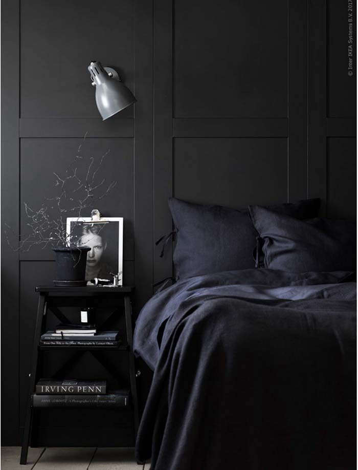 An all-black bedroom, courtesy of Ikea. SeeDreaming in Color:  Sexy Monochrome Bedrooms.