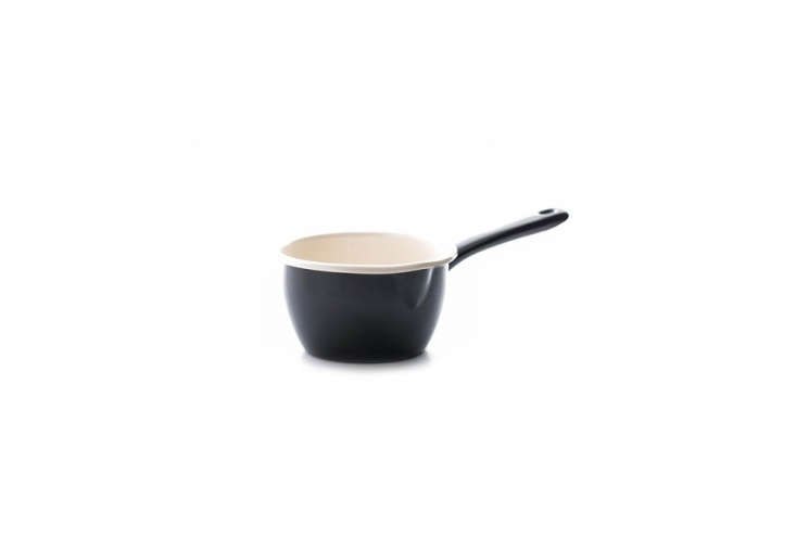 From UK kitchenware maker Dexam, a petite Enamel Milk Pan with black exterior and cream-colored interior measures only eight centimeters (about three inches) high; $.95.