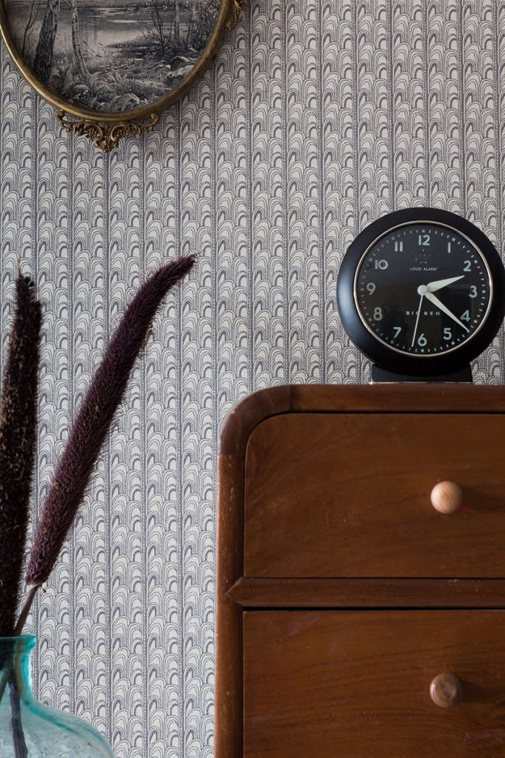 the intricate detail of the deco grasscloth wallpaper(\$\135 per yard), shown 14