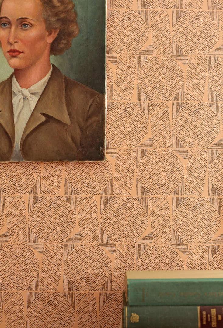lapel wallpaperin camel (\$65 per yard). 16