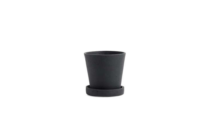 The Hay Black Flowerpot with Saucer is $ for the small size.
