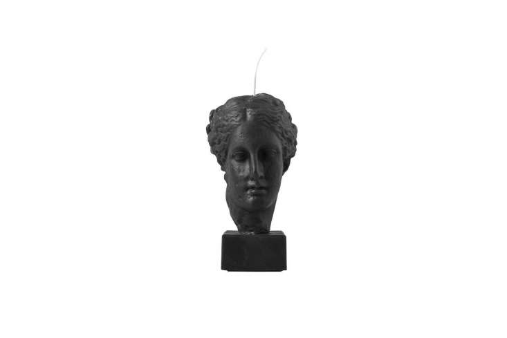 the hygeia bust candle in black is in the shape of the greek goddess of body/mi 10
