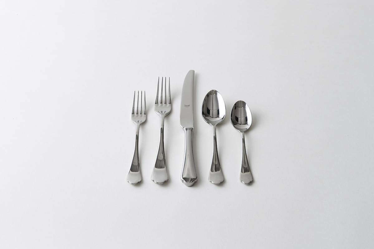 The Mepra Dolce Vita Stainless Steel Flatware is made in Italy and available for $55 at March. It also comes in a Vintage Pewter finish (my pick).