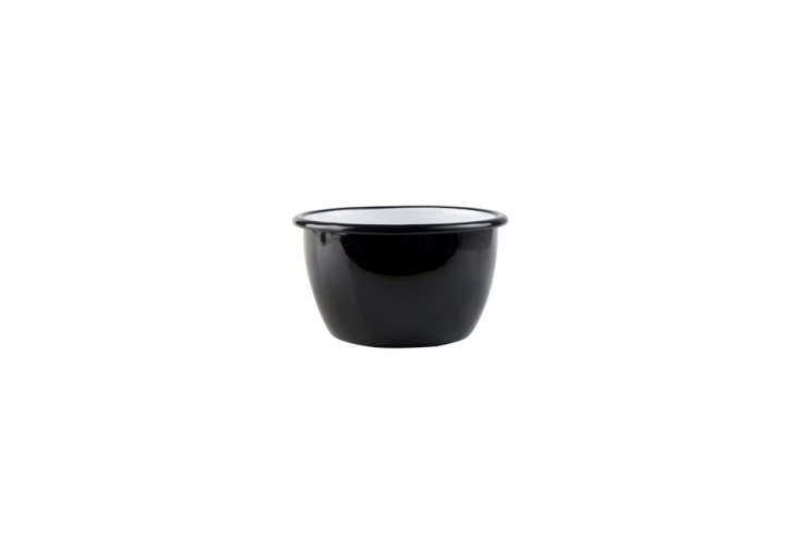Finnish company Muurla makes a Black Enamel Serving Bowl with two-liter capacity;£.95 (about $