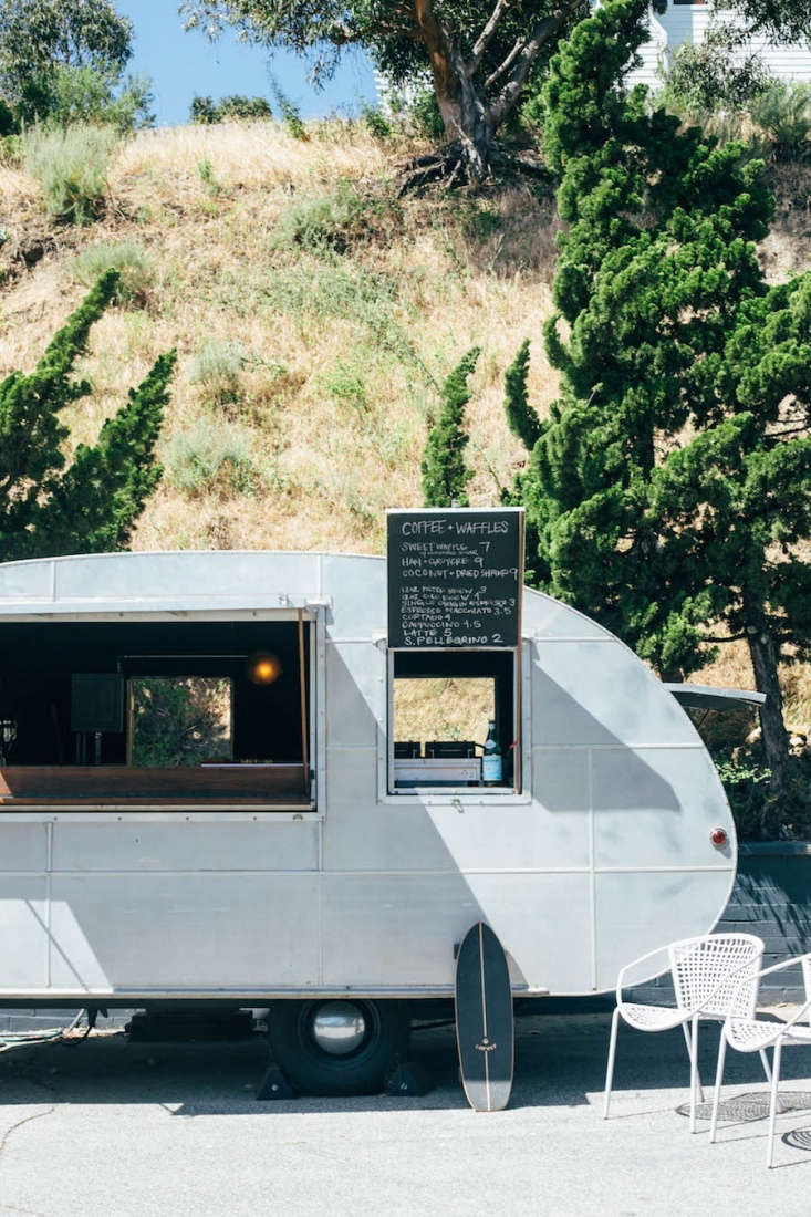 la based french chef ludo lefebvre's offers guests coffee and waffles from a  12