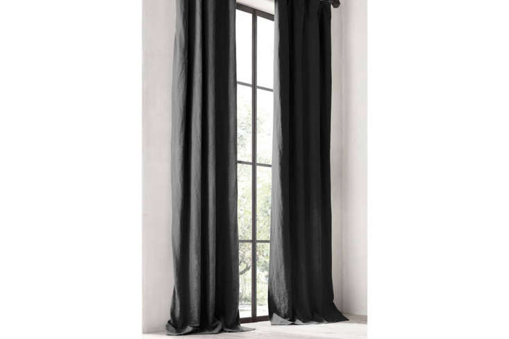 TheWashed Belgian Linen Drapery is available in black; from $5 at Restoration Hardware.