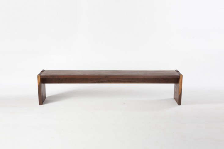 10 Easy Pieces Versatile HardWearing Wood Dining Benches Sawkille&#8\2\17;s Mortise Bench, shown in American Black Walnut (bleached, oiled—shown—or ebonized) starts at \$5,000 at Sawkille.