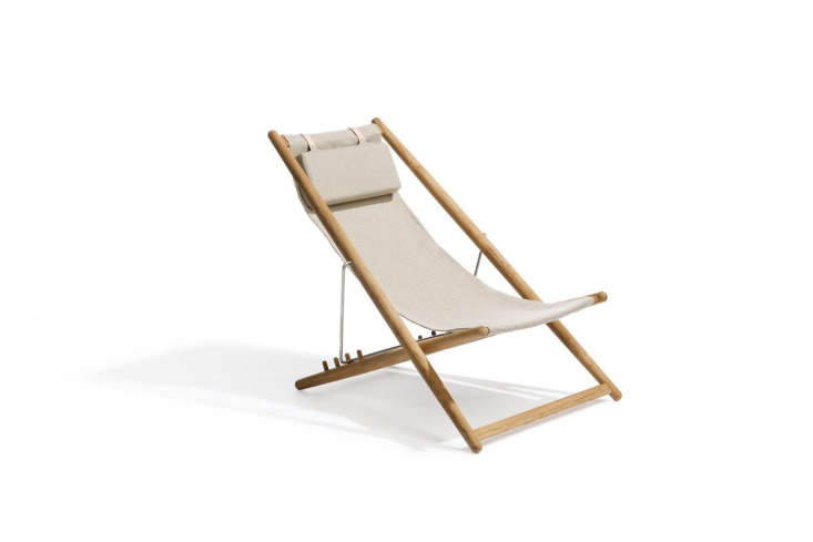 For something similar to the folding canvas armchair in the living room the Skargaarden H55 Teak Lounger comes in natural canvas for indoor use; $900 at Horne. Another option is the the By Lassen Saxe Folding Chair in natural oak with natural leather ($loading=
