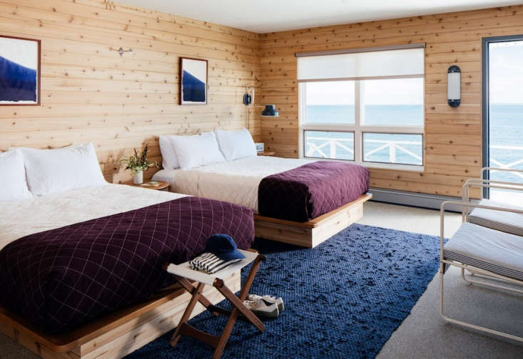 the guest room floors are made from recycled rubber and cork (dyed to resembl 16