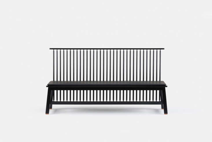 The Bench with Back is available in black painted or black stained ash; $