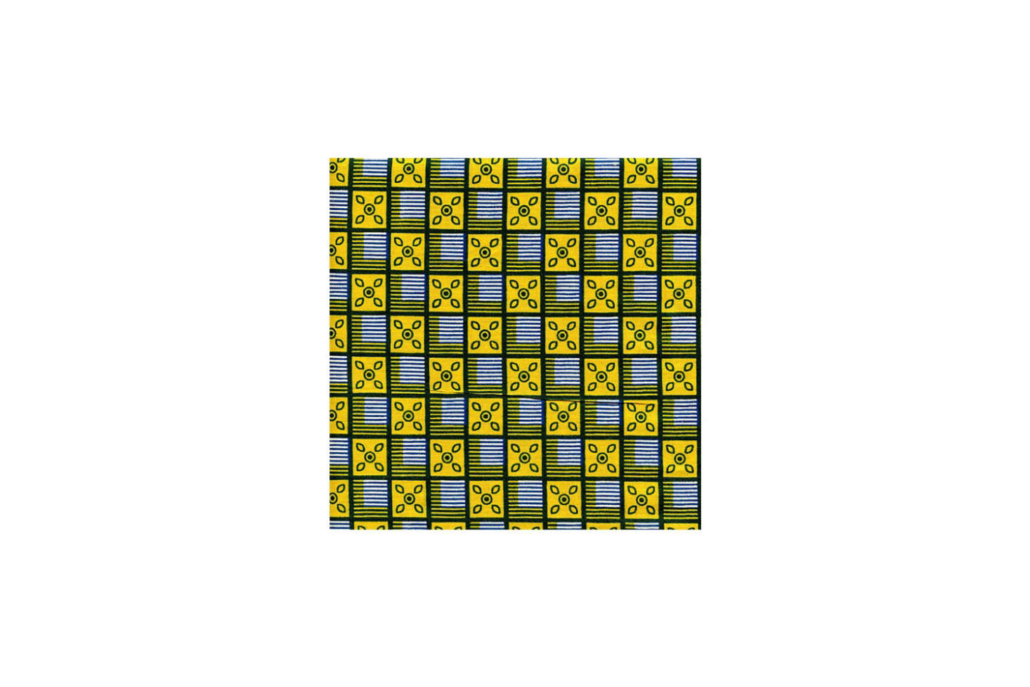 Source African Yara fabric from the Fabric Palette on Etsy. Patterns like this, the African Squares Blue Yellow Print, are $9 per yard.