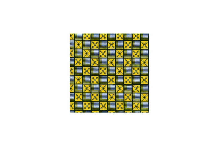 Steal This Look A Bungalow Bedroom in Malibu California Source African Yara fabric from the Fabric Palette on Etsy. Patterns like this, the African Squares Blue Yellow Print, are \$9 per yard.