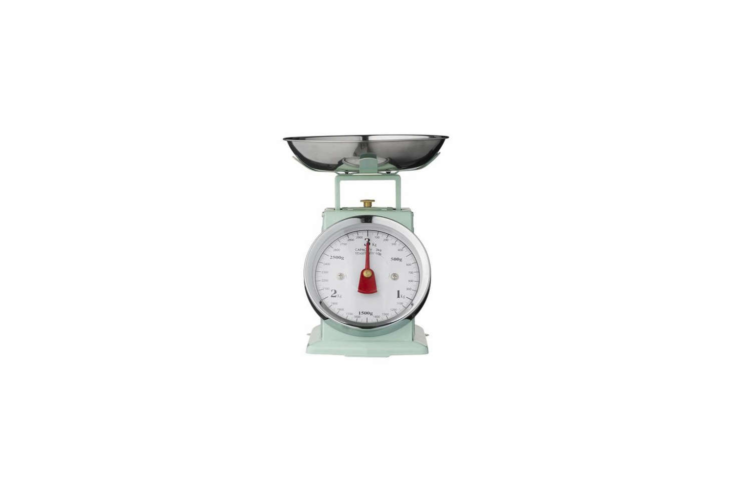 Source a vintage kitchen scale from your local flea market or online like this one, the Báscula Cocina Verde in Retro Mint for €35 at Deco and Living.