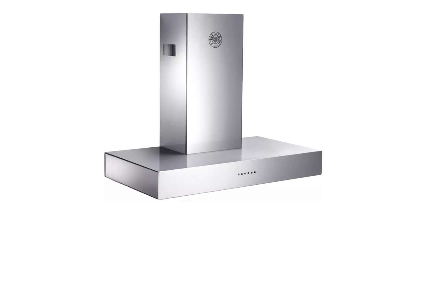 Bertazzoni's Modular Series 36-Inch Wall-Mount Chimney Range Hood offers a contemporary style with steel-encased glass touch controls;$src=