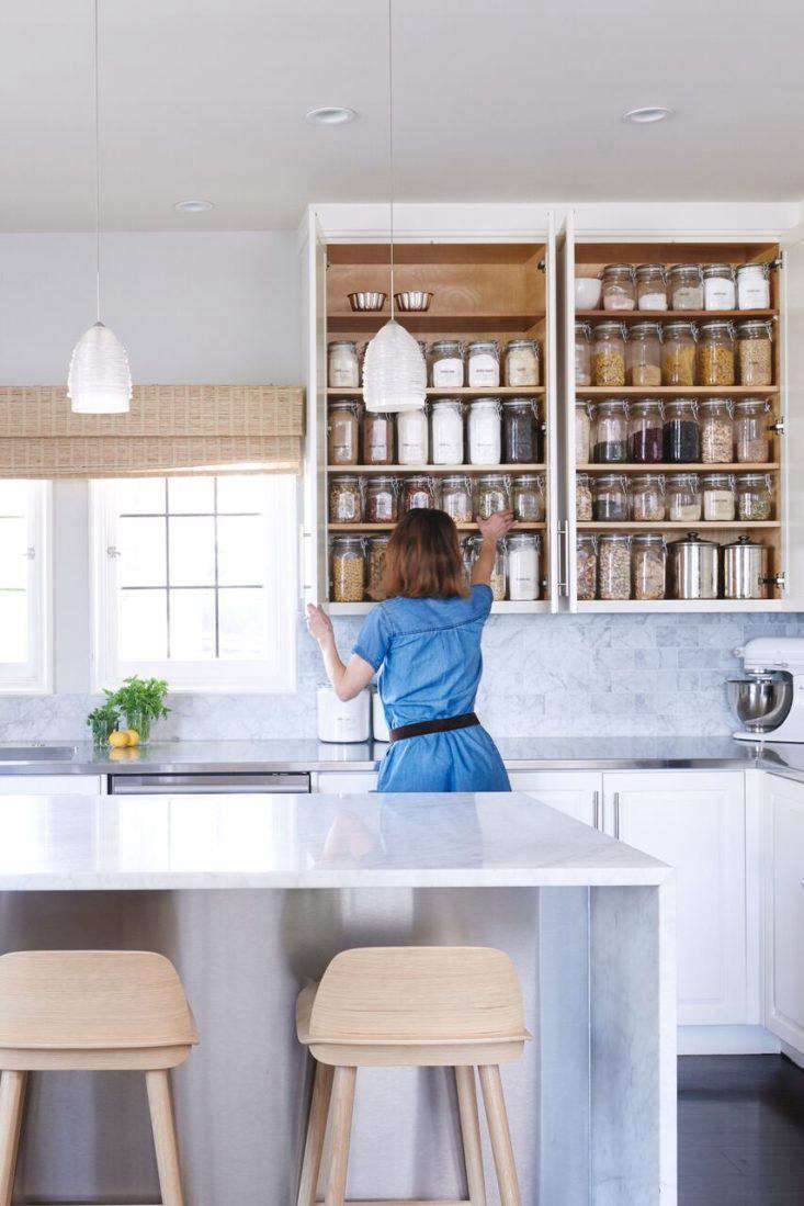 Wiebke Liu, founder of kitchen organization firm Blisshaus, adds plastic-free order to her own Oakland, California, home. See more strategies in Blisshaus: Bringing Back the Old World Pantry, One Kitchen at a Time.Photograph by Maria Del Rio, courtesy of Blisshaus.