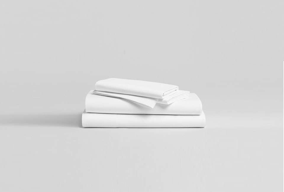 The Classic Core Sheet Set from Brooklinen includes a queen flat sheet, fitted sheet, and two pillowcases for $src=