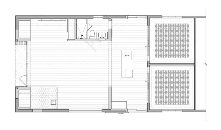 The guesthouse has two bedrooms, a kitchenette, bathroom, and lounge space totaling around loading=