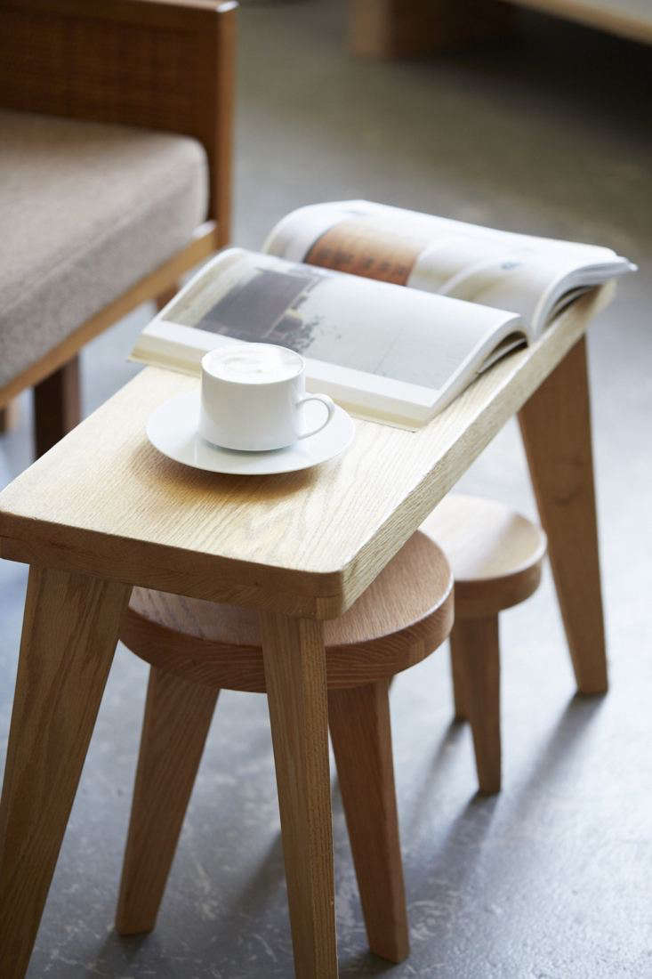New red Oak Stools from Los Angeles designers Kirill Bergart and Joe Lorens of Counter-Space. They&#8