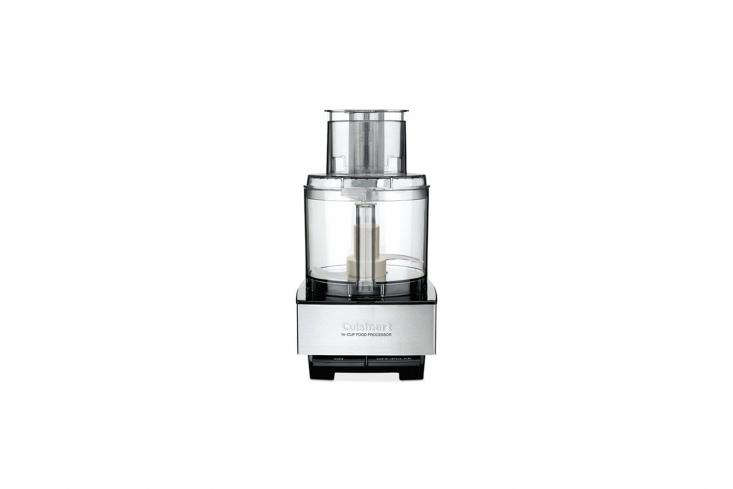 10 Easy Pieces Food Processors The Cuisinart\14 Cup Food Processor is the reliable, no frills option. It has a 7\20 watt motor, an on/off switch (again, no frills), and comes with a stainless steel slicing and shredding disks; \$\190.8\1 on Amazon.