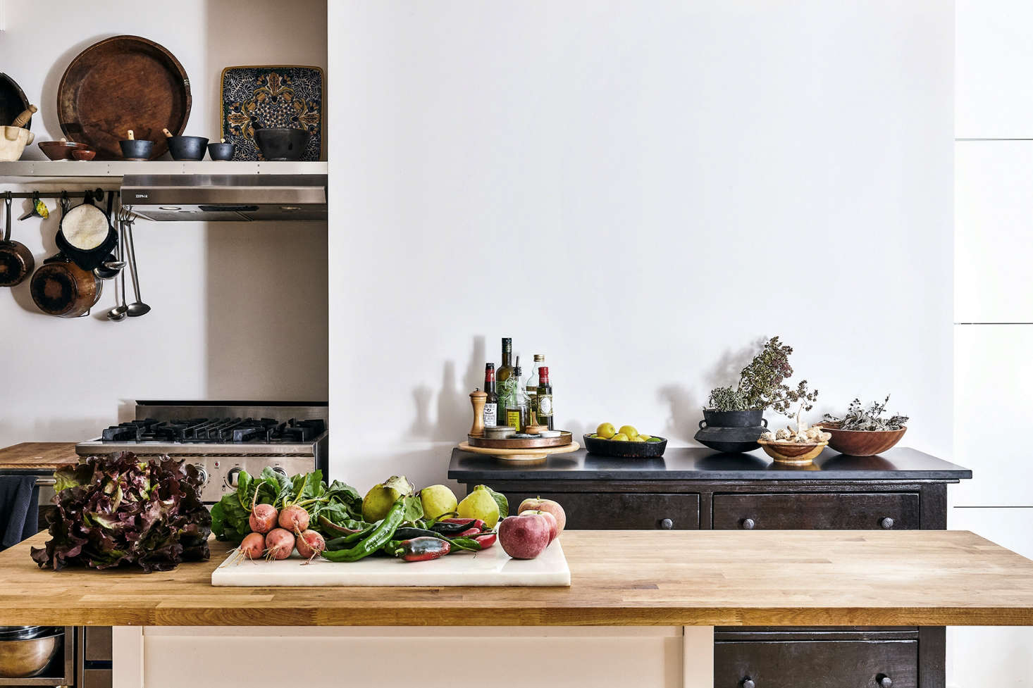 Good enough for a chef: a butcher-block countertop in the Manhattan kitchen of chef David Tanis; see A Chef&#8