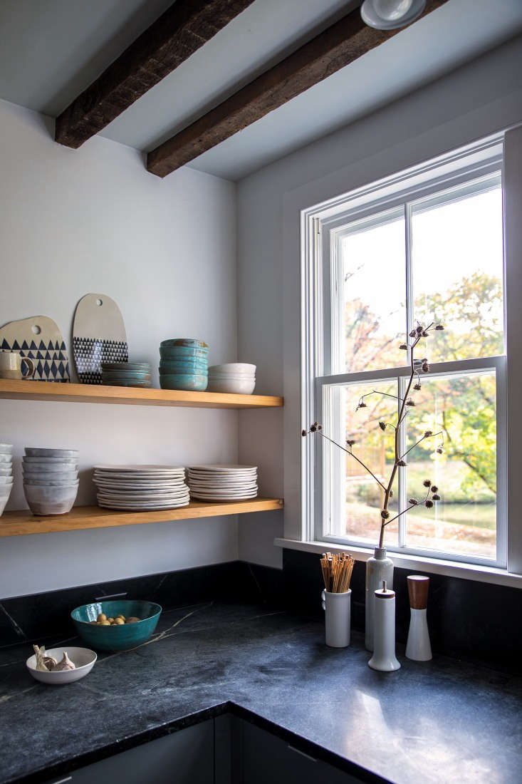 Kitchen of the Week Hudson Valley Farmhouse Kitchen Reborn To achieve a more open feel and introduce some warmer tones, Dunja replaced overhead cabinets with open shelves made of pine.