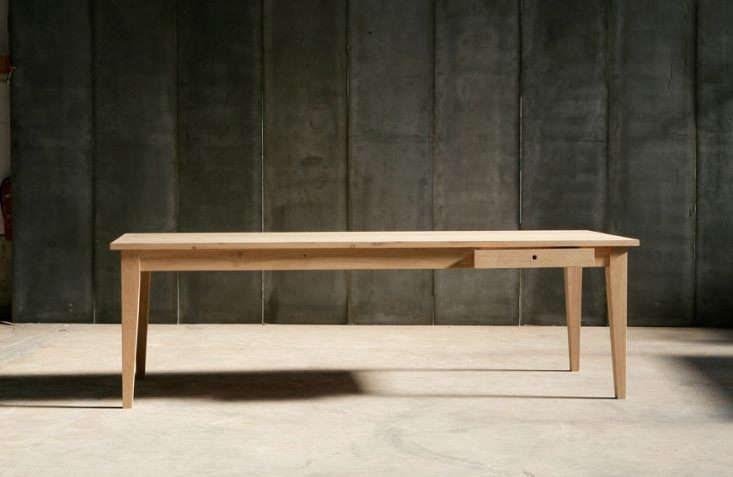 The solid oak 0-centimeter-wide (39-inch-wide)Farmer Table is from Belgian companyHeerenhuis Manufactuur.