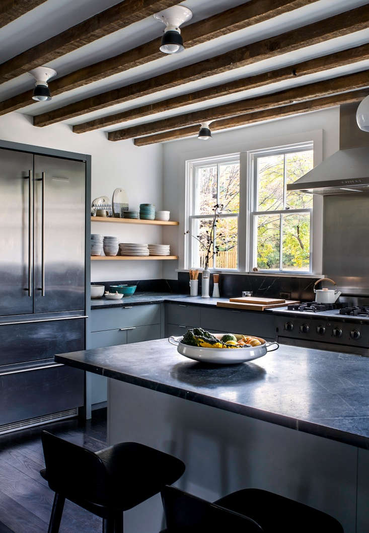 Kitchen of the Week Hudson Valley Farmhouse Kitchen Reborn Dunja&#8\2\17;s mission was to enhance the sense of light and air in the small space.To maximize the ceiling height and reintroduce some historic context,Dunja removed a drop ceiling to expose the farmhouse&#8\2\17;s original beams. Interspersed between the beams are a suite ofHannah Medium Semi Flush Mount lights from Rejuvenation Hardware.