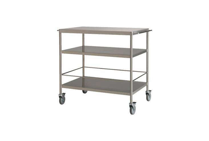 theflytta kitchen cart is made of stainless steel and modeled after restauran 19