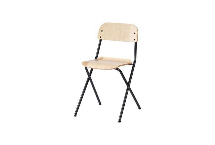 the ikea vässad folding chair in dark gray and ash veneer is \$\29.99. 17