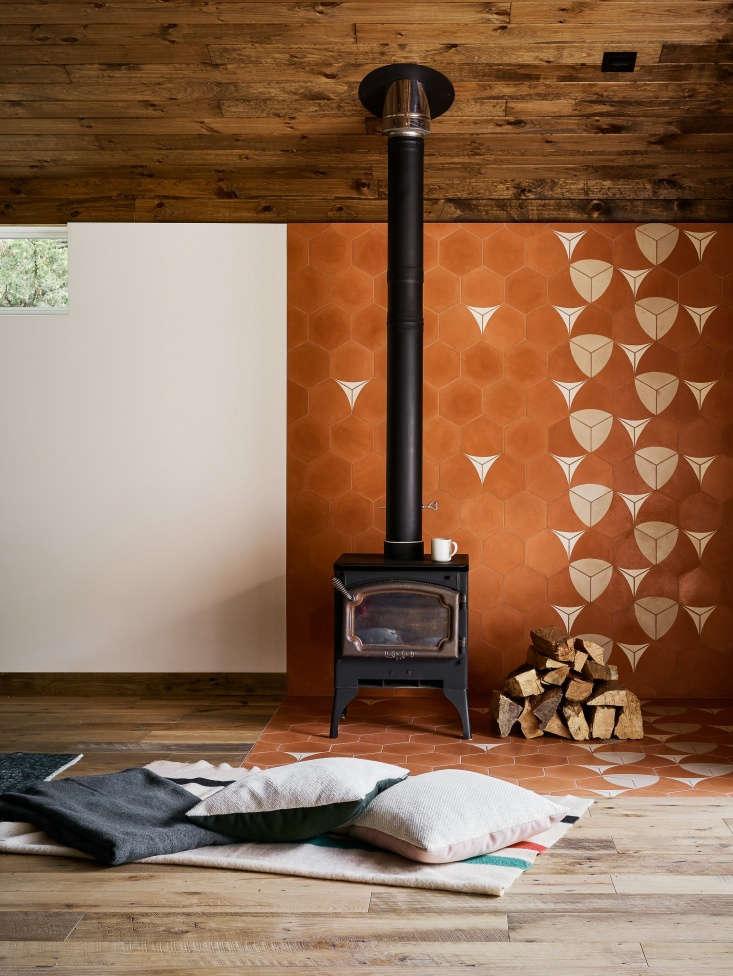 interior catskills barn remodel fireplace orange tile