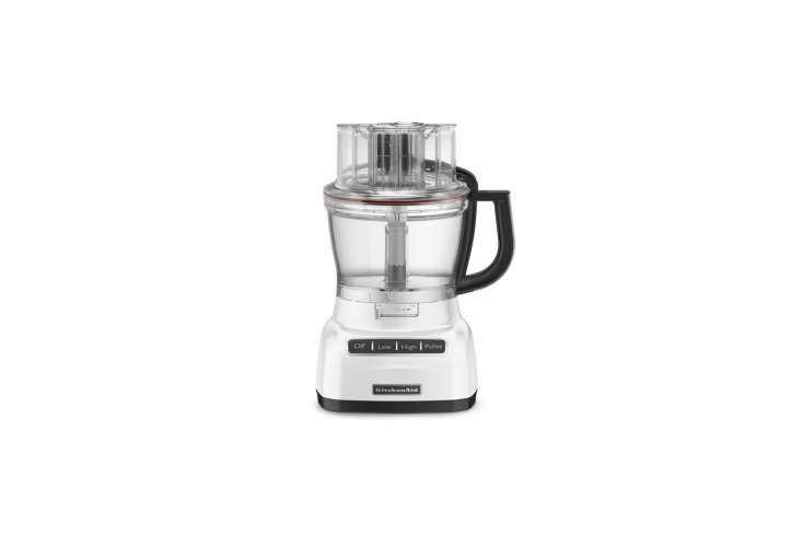 10 Easy Pieces Food Processors The KitchenAid Food Processor with ExactSlice System has an externally adjustable slicing system (the ExactSlice) while processing and comes with an array of slicing and shredding blades, a dough blade, and a spatula; \$\199.99 for the \16 cup size on Amazon.