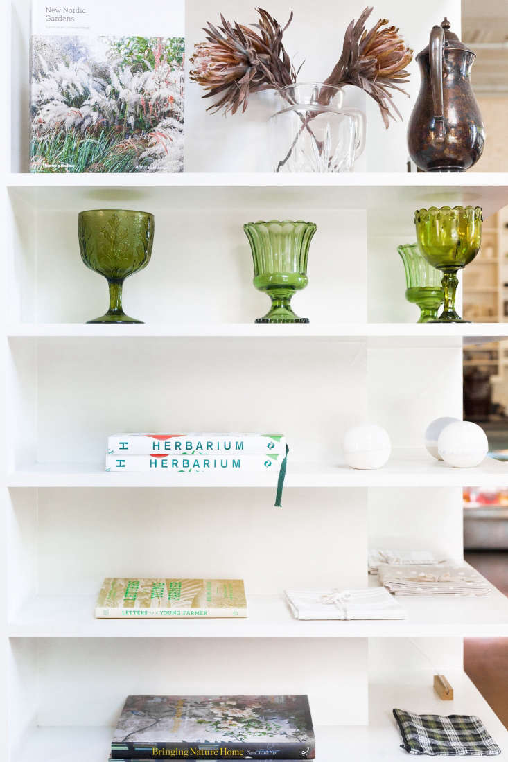A small retail section offers books, ceramics, linens, and locally made larder goods such as honey and jam.